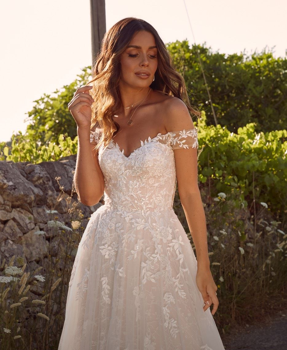 Model in Madi Lane wedding dress